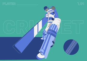 Illustrazione piana di vettore del carattere del giocatore del cricket