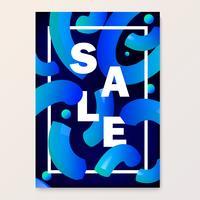 Poster luminoso per i tuoi sconti e promozioni. Forme 3d vettore
