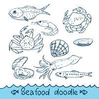 Frutti di mare, dipinti nello stile del doodle, schizzo, Scribble.
