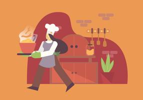 Illustrazione del carattere di vettore di cottura del cuoco unico felice della donna