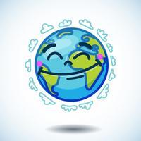 Globo sorridente (terra) nello scarabocchio del fumetto vettore