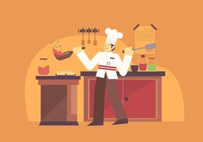 Illustrazione professionale del carattere di vettore del cuoco unico del cuoco unico
