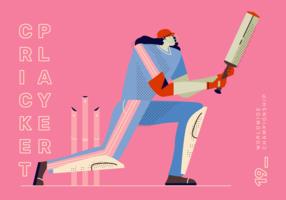 Illustrazione di vettore del giocatore del giocatore di cricket