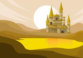 Illustrazione del fondo di vettore del castello della scuola dello stregone