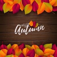 Illustrazione di autunno con foglie colorate e lettering