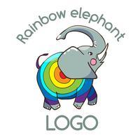Logo Emblema dell'elefante multicolore per la tua attività