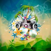 Illustrazione di vacanze estive di vettore su un tema di musica e festa