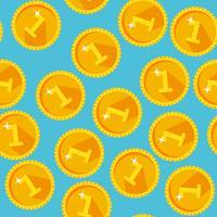 Struttura senza cuciture con monete d'oro vettore
