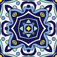 Ornamento blu tradizionale azulejos portoghesi. Modello senza cuciture orientale vettore