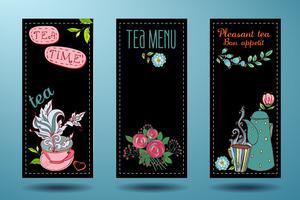 striscioni con tazze, teiere e tè, carta del tè vettore