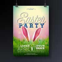 Illustrazione di volantino festa di Pasqua di vettore con le orecchie di coniglio e gli elementi di tipografia