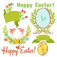 uovo, uccelli, fiori, pasqua vettore