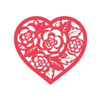 Modello cuore con rose per il taglio laser. vettore