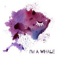 Acquerello balena viola, dipinto in acquerello macchia Rorschach