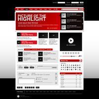 Elementi del sito Web Design Rosso. vettore