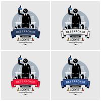 Scienziato e design del logo del laboratorio. vettore