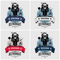 Astronauta astronauta logo design. vettore