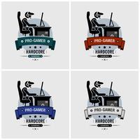 Design del logo Pro gamer. vettore