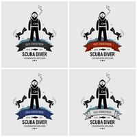 Design del logo di immersioni subacquee. vettore