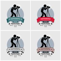 Progettazione del logo dello studio di fotografia del fotografo. vettore
