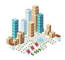 Città piatta in stile isometrico vettore