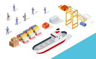 Cargo portuale isometrico vettore