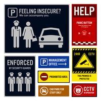 Insegne dei segnali di sicurezza e di sicurezza del parcheggio.