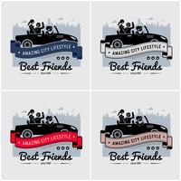 Migliori amici e amicizia logo o banner design. vettore