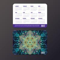 Calendario tascabile. Modello di progettazione mandala