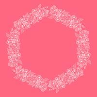 Illustrazione isolata tropicale scandinava della corona floreale della struttura di vettore della primavera