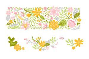 Vettore di fiori impostato in colori pastello. Illustrazione piana floreale isolata su fondo bianco