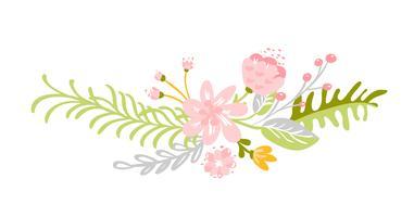 Mazzo di erbe di fiore verde astratto piano vettore