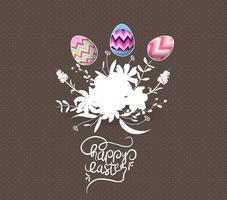 uovo di Pasqua invitato con biglietto di auguri di fiori