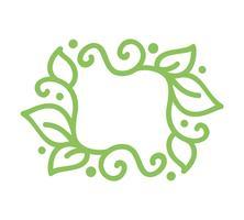 Blocco per grafici di fioritura di calligrafia verde vintage monoline vettoriale per biglietto di auguri
