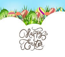 Uova di Pasqua felici. Sfondo di primavera con denti di leone bianchi