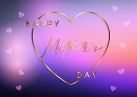 Sfondo festa della mamma con cuore d'oro e testo