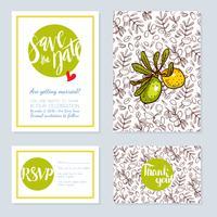 Set di carte di nozze, inviti per un addio al nubilato vettore