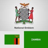 Emblema nazionale dello Zambia, mappa e bandiera vettore