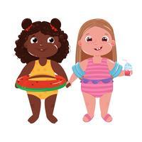 Due bambine sulla spiaggia. Ciao Estate. Amici gioco divertente e vacanze al mare. Illustrazione di cartone animato vettoriale