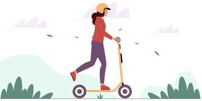 giovane donna che indossa un casco protettivo guida uno scooter elettrico vettore