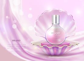 Illustrazione vettoriale di un profumo di stile realistico in una bottiglia di vetro e guscio aperto.