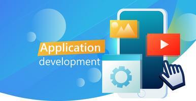 Banner di UI app design mobile phone. Interfaccia utente di app. Vector piatta illustrazione sfumata