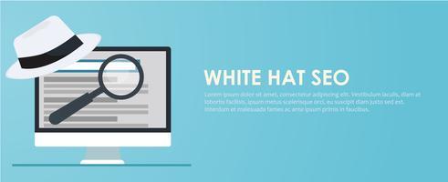 Banner seo cappello bianco e nero. Lente di ingrandimento e altri strumenti e tattiche per l'ottimizzazione dei motori di ricerca. Illustrazione piatta vettoriale