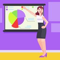 Una donna in ufficio mostra grafici, tabelle e diagrammi. Illustrazione piatta vettoriale