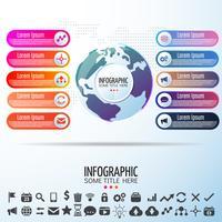 Modello di progettazione infografica mappa mondo