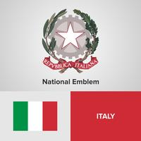Emblema nazionale dell'Italia, mappa e bandiera