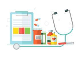 Set medico di oggetti. Compresse, medicinali. Illustrazione piatta vettoriale