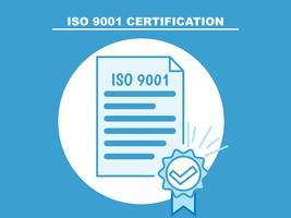 ISO 9001. Illustrazione piatta del certificato. icona di linea vettore