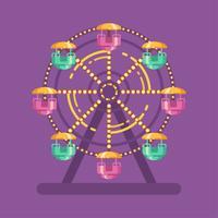 Illustrazione piana di carnevale della luna park. Illustrazione del parco di divertimenti con una ruota panoramica