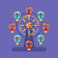 Illustrazione piana di carnevale della luna park. Illustrazione del parco di divertimenti con una ruota panoramica alla notte su fondo blu
